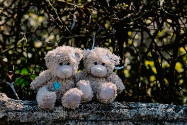 Zwei niedliche Teddybären sitzen Arm in Arm.